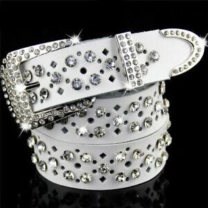 Women Genuine Leather Bling Crystal Diamond Waist Strap Hollow Design Waistband