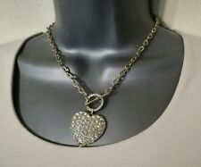 NECKLACE SILVER TONE METAL LINK CHAIN RHINESTONE HEART PENDANT SPARKLE PARTY