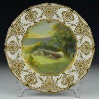 Signed C.B Hopkins Royal Doulton Porcelain Cabinet Plate w/ Sheep & Raised Gold