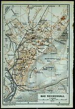 BAD REICHENHALL, alter farbiger Stadtplan, datiert 1913