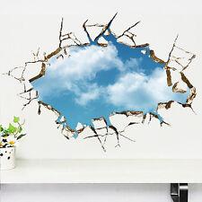 Blau Himmel 3D Wand Wandbild Aufkleber Abnehmbare Kunst Vinyl Abziehbild Zimmer