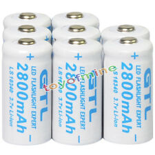 8x 3.7V CR123A 123A CR123 16340 2800mAh GTL Rechargeable Battery Cell White
