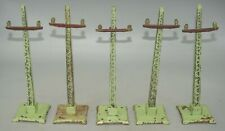 LOT OF 5 LIONEL PREWAR O-GAUGE #60 TELEGRAPH~ APPLE GREEN~GLASS~ INSULATOR POLES