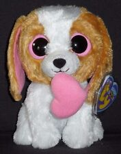 """TY BEANIE BOOS BOO'S - COOKIE the 6"""" DOG with PINK HEART - MINT with MINT TAG"""