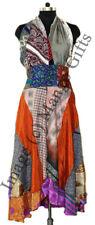 Silk Saree Long Maxi Dress Boho Hippie Clothes Beach Summer Backless Dress Women