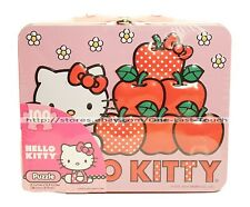 """HELLO KITTY* SANRIO 100pc 15""""x12.5"""" Puzzle + TIN LUNCHBOX CASE For Kids APPLES"""