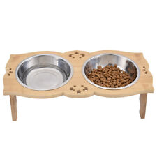 Double Elevated Raised Dog Pet Bowl Dish Solid Wood Stand Feeder Food Water