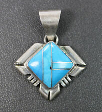Rose Castillo Navajo Sterling Silver & Turquoise Inlay Pendant