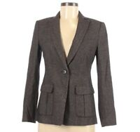 Ann Taylor LOFT Womens Blazer Suit Jacket Brown Wool Blend Button