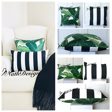 Tommy Bahama Indoor/Outdoor Palm Leaf- Black & White Stripes Cushion Cover