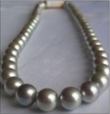 """HUGE 18""""11-12MM NATURAL SOUTH SEA GENUINE SILVERY GRAY PEARL NECKLACE PERFECT"""