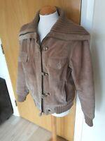 Ladies Jacket Size 14 Cream Suede Leather Bomber Harrington Biker