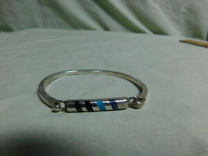 Vtg TC-141 Mexico Sterling Silver Hinged Bracelet w/ colorful Stones