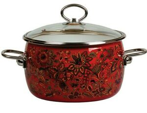 Red Enamel Stock Pot Enameled Cooking Stockpot w/ Russian Floral Pattern Hohloma