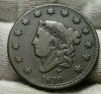 1830 Penny Coronet Large Cent - Nice Coin, Free Shipping  (9448)