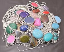 Labradorite & Other Stone 925 Sterling silver Plated Ethnic 20pcs Chain Pendant