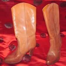 Brown leather cowboy cowgirl Stack heel boots 1980s Joyce stitching 6 B Vintage