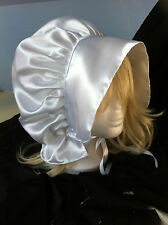 white satin victorian edwardian adult baby fancy dress bonnet hat  sissy maid