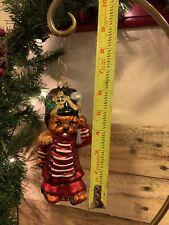 "Christopher RADKO TEDDY PARADE Glass Bear Soldier Drummer Christmas Ornament 6"""