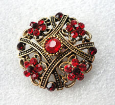 Victorian Style Gothic Brooch Vampire Costume Jewellery Blood Red Crystals