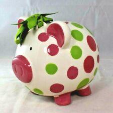 Burton + Burton- Girl's Pink & Green Polka Dot Piggy Bank with Bow (Still Coin)
