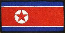 NORTH KOREA FLAG Iron-on PATCH KOREAN DPRK KING JONG UN RARE BLACK Border #04