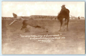1931 Rodeo Rider Thrown From Horse Cheyenne Wyoming Frontier Days RPPC Postcard
