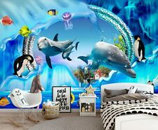 3D Whale Dolphin Zhua8064 Wallpaper Wall Murals Removable Self-adhesive Amy
