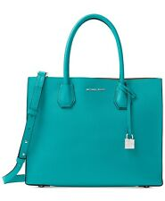 NWT MICHAEL Michael Kors Studio Mercer Large Leather Tote Tile Blue MSRP $298