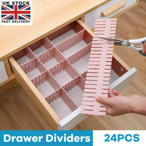 24X Adjustable Drawer Dividers Organiser Socks Plastic Closet Separator Flexible