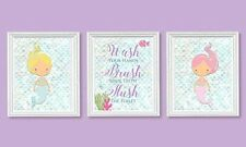 NEW Adorable Mermaid Children Bathroom Wall Decor Set of Three FREE SHIPPING