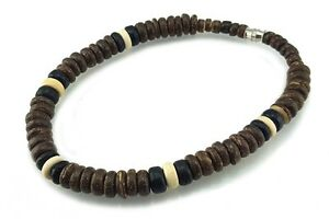 """Men Surfer Choker Necklace coco Natural Wood beads Screw Clasp 18"""""""