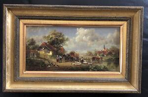 tolles Gemälde Bauern mit Hof und Tieren signiert Hubert Kaplan