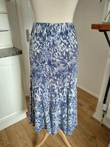 David Nieper 16 Grey Blue Patterned Lined Supersoft Jersey Skirt