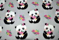 "BTY*BABY PANDA BEARS WITH ARMFUL OF FLOWERS ON GREY FLEECE FABRIC 1 YD 60X36"""
