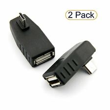 2X Right Angle USB Male to Left Facing Vertical Female Adapter Coupler Connector