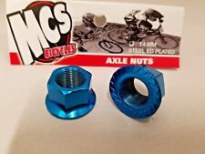 MCS BMX FREESTYLE STEEL ED PLATED 14MM AXLE NUTS PAIR BLUE