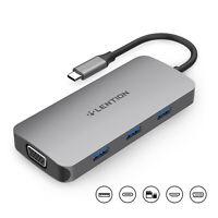 LENTION USB C Hub zu HDMI VGA USB 3.0 Multiadapter Dongle 60W PD for MacBook Pro