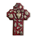 HAND MADE MILAGROS WOOD CROSS, HAND CARVED ,PAINTED , CRUZ , 7.5 X 5.5 , RED