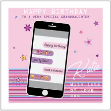 Personalised Girls Girly Mobile phone birthday card Daughter Granddaughter