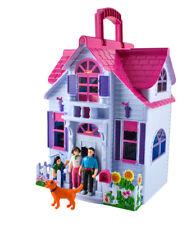 Puppenhaus  6 Zimmer Möbel Figuren Familie mit Hund Spielzeug Tragbar #6079