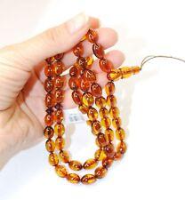 Islam Prayer Misbaha Subha Genuine Cognac Baltic Amber 66 Oval Plum Beads