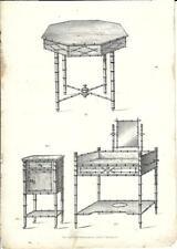 Stampa antica TAVOLINI bambù Mobili Arredamenti 1850 Old antique Print FURNITURE