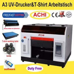 ACHI A3 UV-Drucker 6Farb&T-Shirt-Arbeitstisch für zylindrische 3D-Prägung Flach
