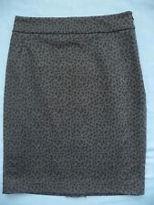 TAHARI Skirt 12 NEW Pencil Straight Grey w/ Black Spots Knit Stretch Elegant