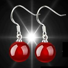 Pretty New Silver Plated 8mm Red Agate Ball Bead Hook Dangle Drop Earrings