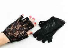 Mujer Encaje Negro Mitones Años 80 Disfraz Estrella Del Pop Fiesta Disfraces