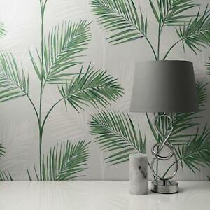 South Beach Palm Leaf Wallpaper Stone Grey Metallic Mica