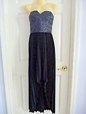BEBE Medium High-Low Dress Formal Cocktail Black And Silver Removable Straps EUC