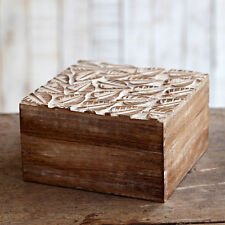 Fair Trade Natural Leaf Carved Mango Wood Box. Shabby Chic, Distressed Style